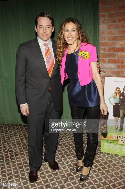 Actors Matthew Broderick and Sarah Jessica Parker attend the afterparty for a screening of Smart People at The Bowery Hotel March 31 2008 in New York...