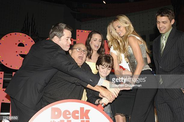 Actors Matthew Broderick Danny DeVito Kristin Davis Sabrina Aldridge Dyan Blue Kelly Aldridge and Ryan Devlin flip the switch to light up Hollywood...