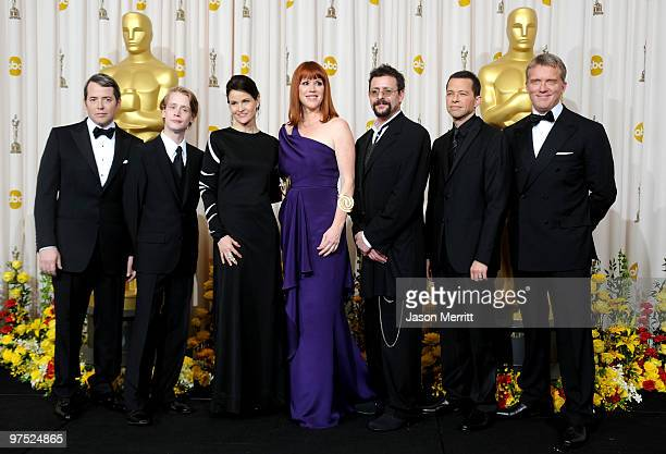 Actors Matthew Broderick Macaulay Culkin Ally Sheedy Molly Ringwald Judd Nelson Jon Cryer and Anthony Michael Hall who presented a tribute to late...