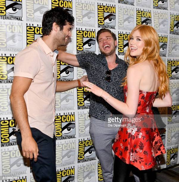 Actors Matthew Daddario Dominic Sherwood and Katherine McNamara at the Freeform press line for 'Stitchers' and 'Shadowhunters' during ComicCon...