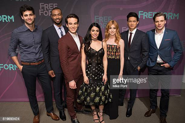 Actors Matthew Daddario Isaiah Mustafa Alberto Rosende Emeraude Toubia Katherine McNamara Harry Shum Jr and Dominic Sherwood attend the 2016 Freeform...