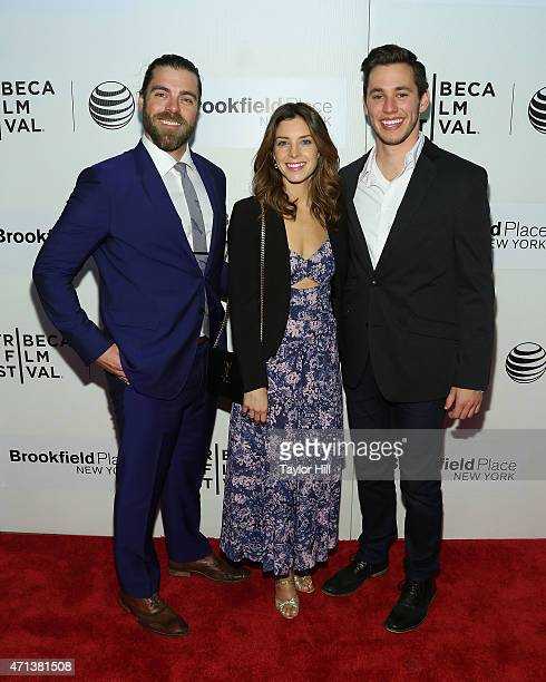 """Actors Matthew Delamater, Maggie Castle, and Gabe Gibbs attend the world premiere of """"Tumbledown"""" during the 2015 Tribeca Film Festival at BMCC..."""
