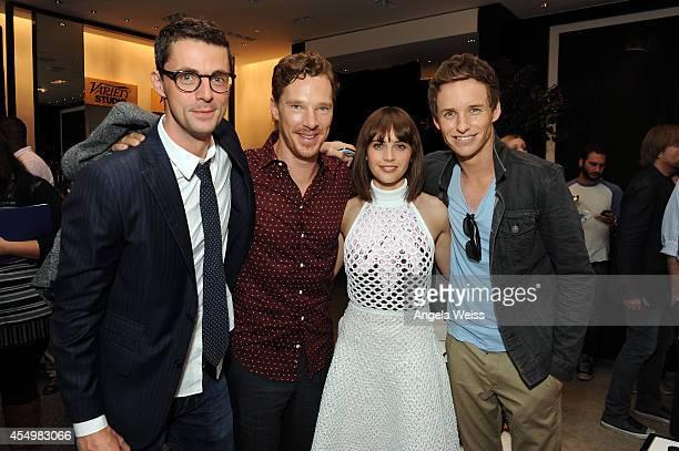 Actors Matthew Goode Benedict Cumberbatch Felicity Jones and Eddie Redmayne attend the Variety Studio presented by Moroccanoil at Holt Renfrew during...
