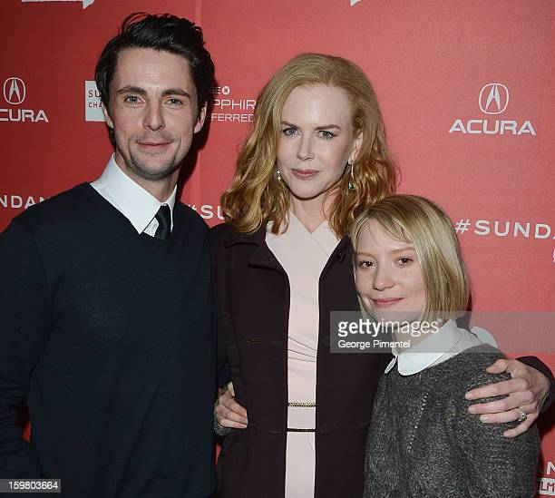 Actors Matthew Goode Nicole Kidman and Mia Wasikowska attend the 'Stoker' premiere at Eccles Center Theatre during the 2013 Sundance Film Festival on...