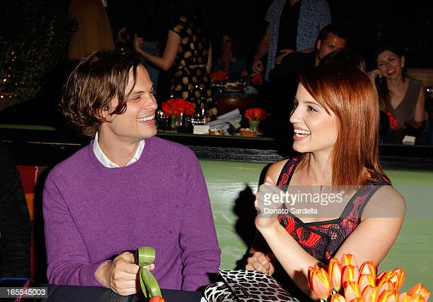 Actors Matthew Gray Gubler and Dianna Agron attend Vogue's Triple Threats dinner hosted by Sally Singer and Lisa Love at Goldie's on April 3 2013 in...
