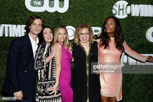 Actors Matthew Gray Gubler Paget Brewster AJ Cook Kirsten Vangsness and Aisha Tyler arrive at the CBS CW Showtime Summer TCA Party at Pacific Design...