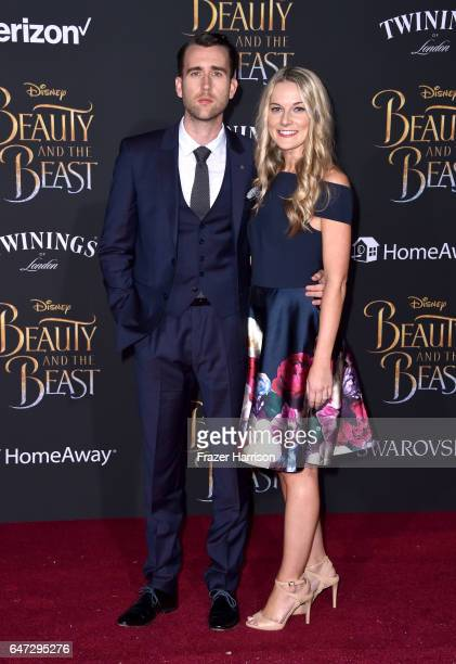 Actors Matthew Lewis and Angela Jones attend Disney's 'Beauty and the Beast' premiere at El Capitan Theatre on March 2 2017 in Los Angeles California