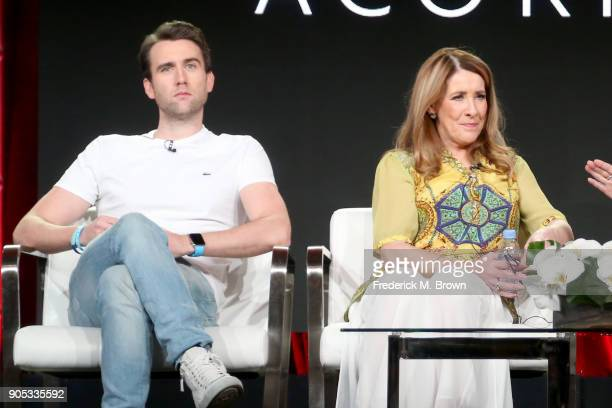 Actors Matthew Lewis and Phyllis Logan of 'Girlfriends' speak onstage during the Acorn TV portion of the 2018 Winter Television Critics Association...