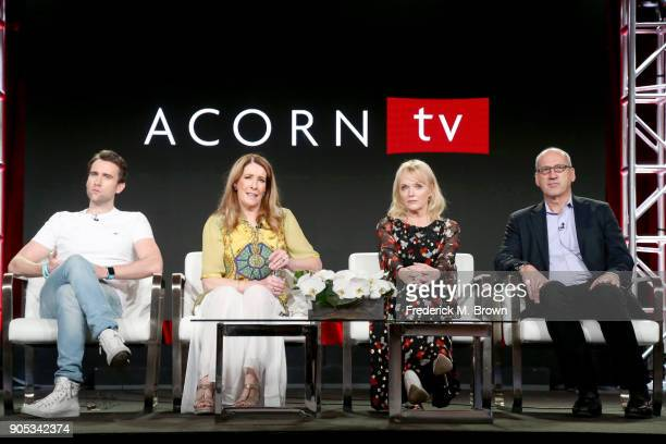 Actors Matthew Lewis Phyllis Logan and Miranda Richardson and RLJ Entertainment's Chief Content Officer for Acorn brands Mark Stevens of...