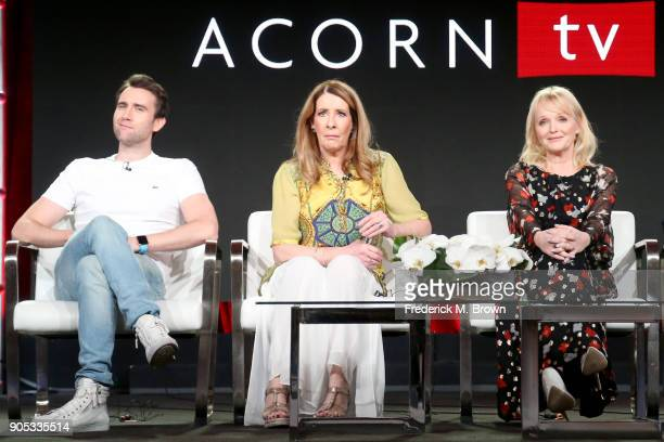 Actors Matthew Lewis Phyllis Logan and Miranda Richardson of 'Girlfriends' speak onstage during the Acorn TV portion of the 2018 Winter Television...