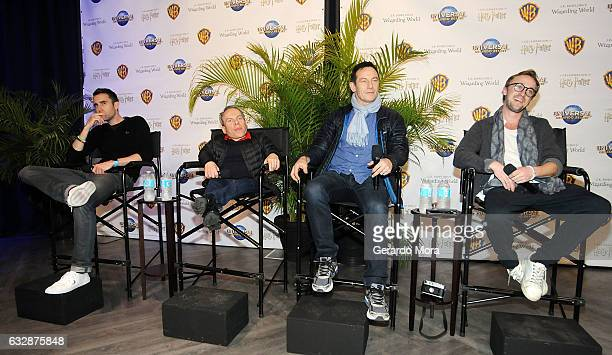 Actors Matthew Lewis Warwick Davis Jason Isaacs and Tom Felton answer questions during the fourth annual celebration of 'Harry Potter' at Universal...