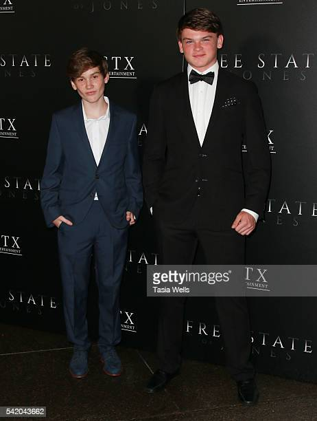 Actors Matthew Lintz and Cade Cooksey arrive at the premiere of STX Entertainment's Free State Of Jones at DGA Theater on June 21 2016 in Los Angeles...