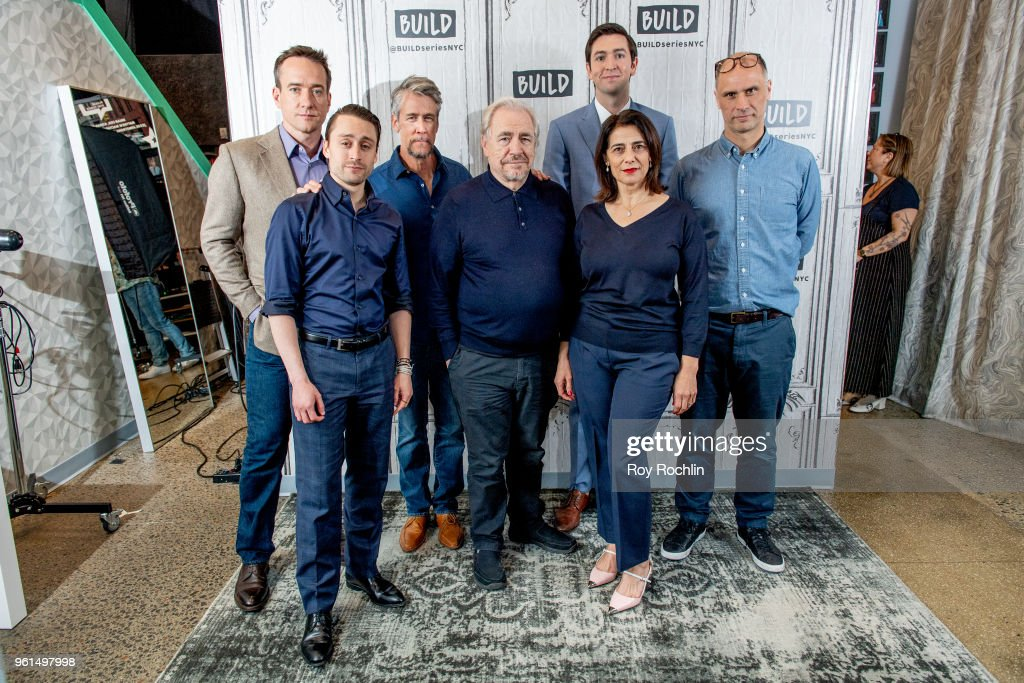 Actors Matthew Macfadyen, Kieran Culkin, Alan Ruck, Brian Cox, Hiam Abbass, Nicholas Braun and writer/director Jesse Armstrong discuss 'Succession' with the Build Series at Build Studio on May 22, 2018 in New York City.