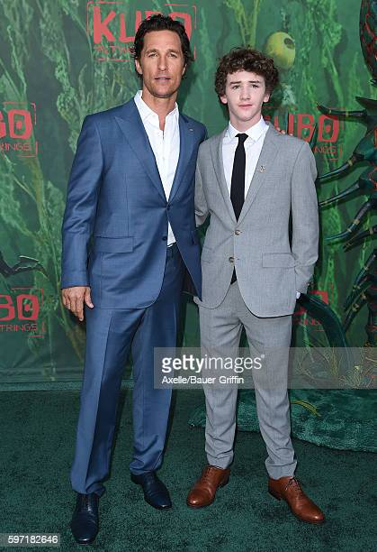 Actors Matthew McConaughey and Art Parkinson arrive at the premiere of Focus Features' 'Kubo And The Two Strings' at AMC Universal City Walk on...