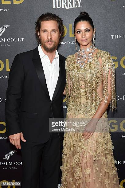 Actors Matthew McConaughey and Camila Alves attends The World Premiere of 'Gold' hosted by TWC Dimension with Popular Mechanics The Palm Court Wild...