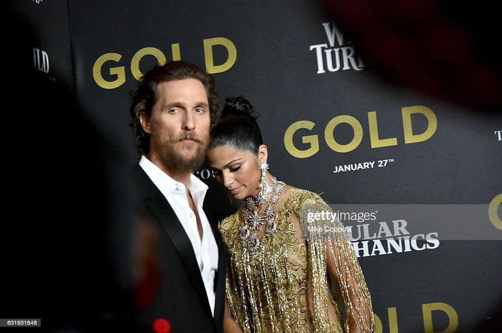 Actors Matthew McConaughey and Camila Alves attends The World Premiere of 'Gold' hosted by TWC - Dimension with Popular Mechanics, The Palm Court & Wild Turkey Bourbon at AMC Loews Lincoln Square 13 theater on January 17, 2017 in New York City.