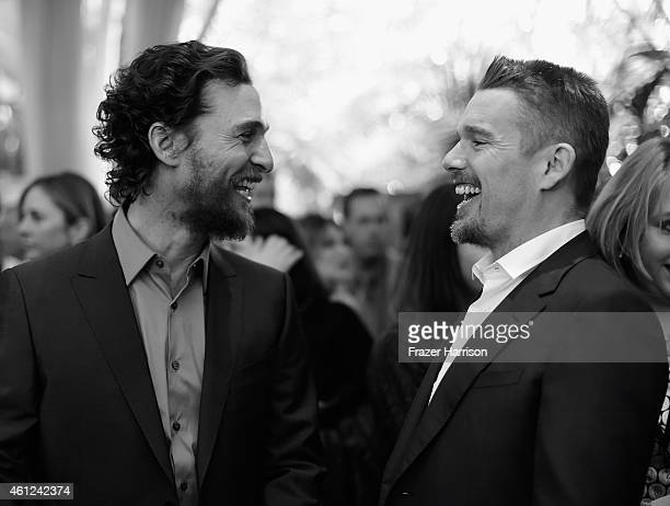 Actors Matthew McConaughey and Ethan Hawke attend the 15th Annual AFI Awards at Four Seasons Hotel Los Angeles at Beverly Hills on January 9 2015 in...