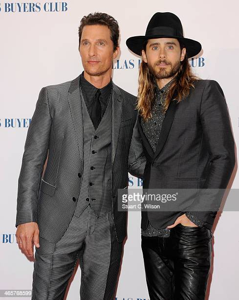Actors Matthew McConaughey and Jared Leto attend the Dallas Buyers Club UK Premiere at the Curzon Mayfair on January 29 2014 in London England