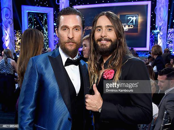 Actors Matthew McConaughey and Jared Leto backstage at TNT's 21st Annual Screen Actors Guild Awards at The Shrine Auditorium on January 25 2015 in...