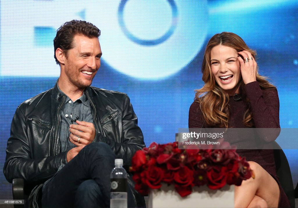 Actors Matthew McConaughey and Michelle Monaghan speak onstage during the 'True Detective' panel discussion at the HBO portion of the 2014 Winter Television Critics Association tour at the Langham Hotel on January 9, 2014 in Pasadena, California.
