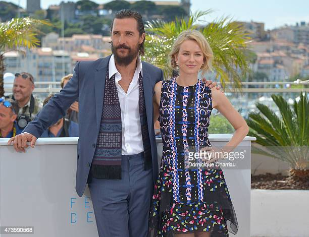 Actors Matthew McConaughey and Naomi Watts attend 'The Sea Of Trees' Photocall during the 68th annual Cannes Film Festival on May 16 2015 in Cannes...