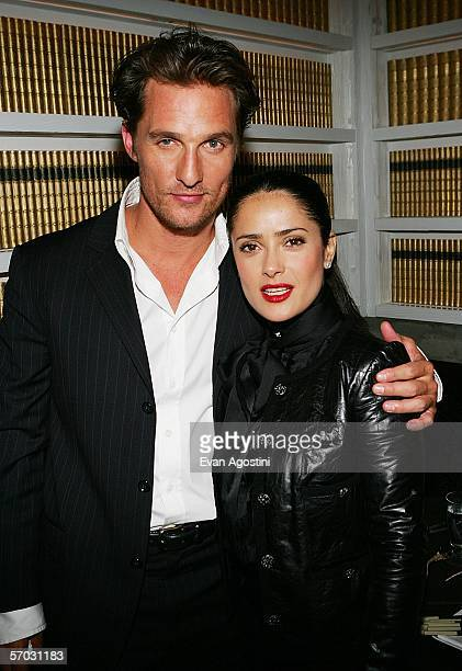 Actors Matthew McConaughey and Salma Hayek attend the 'Failure To Launch' premiere after party at Buddakan on March 8 2006 in New York City