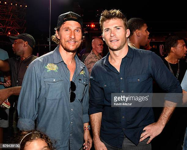 Actors Matthew McConaughey and Scott Eastwood are seen backstage at 'Spike's Rock the Troops' event held at Joint Base Pearl Harbor Hickam on October...