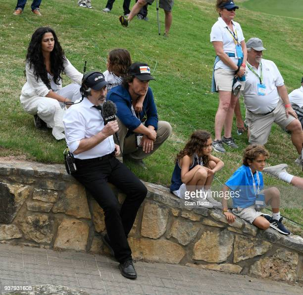 Actors Matthew McConaughey Camila Alves and their children Levi Vida and Livingston attend the championship match at the World Golf ChampionshipsDell...