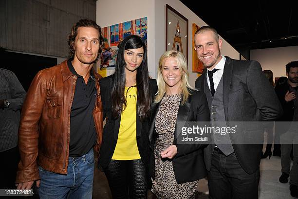 Actors Matthew McConaughey Camila Alves Reese Witherspoon and Agent Jim Toth attend the second annual Art Mere/Art Pere Night presented by CORZO...