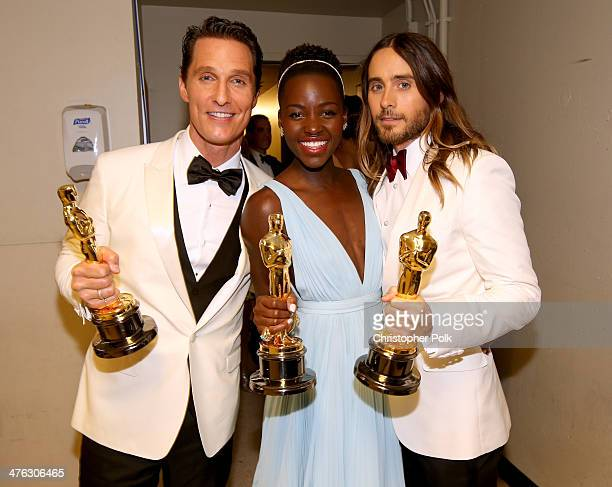 Actors Matthew McConaughey Lupita Nyong'o and Jared Leto pose with award backstage during the Oscars held at Dolby Theatre on March 2 2014 in...