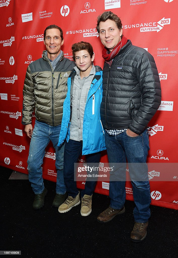 Actors Matthew McConaughey, Tye Sheridan and director Jeff Nichols arrive at the 2013 Sundance Film Festival Premiere of 'Mud' at The Marc Theatre on January 19, 2013 in Park City, Utah.