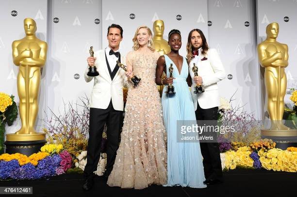 Actors Matthew McConaughey winner of Best Performance by an Actor in a Leading Role, Cate Blanchett winner of Best Performance by an Actress in a...