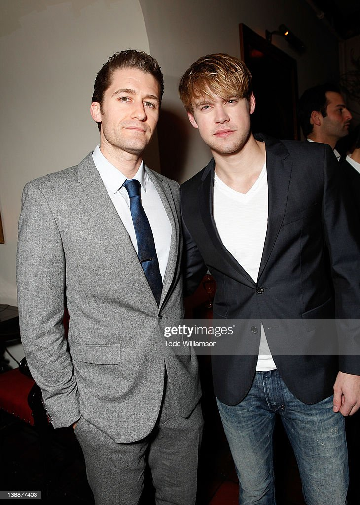 Actors Matthew Morrison (L) and Chord Overstreet attend the Warner Music Group Grammy Celebration hosted by InStyle at Chateau Marmont on February 12, 2012 in Los Angeles, California.