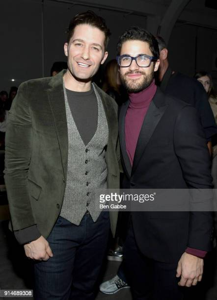 Actors Matthew Morrison and Darren Criss attend the Todd Snyder fashion show during New York Fashion Week at Pier 59 on February 5 2018 in New York...