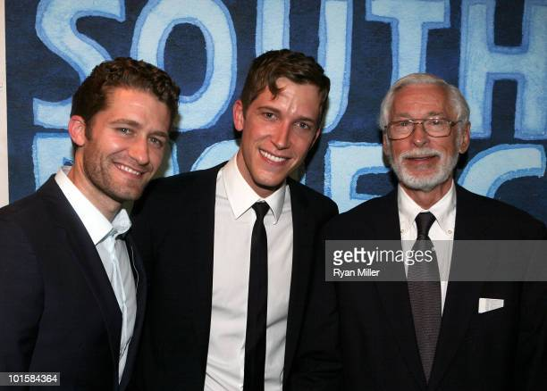 Actors Matthew Morrison cast member Anderson Davis and John Kerr pose backstage after the opening night performance of South Pacific at the Center...