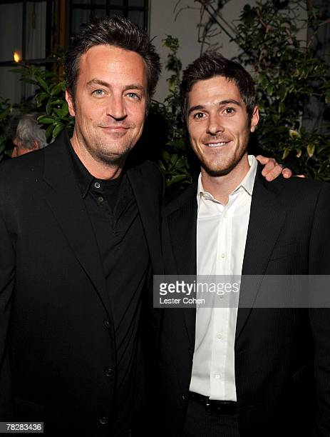 LOS ANGELES CA DECEMBER 05 Actors Matthew Perry and Dave Annable during the GQ 2007 Men of the Year party at the Chateau Marmont on December 5 2007...
