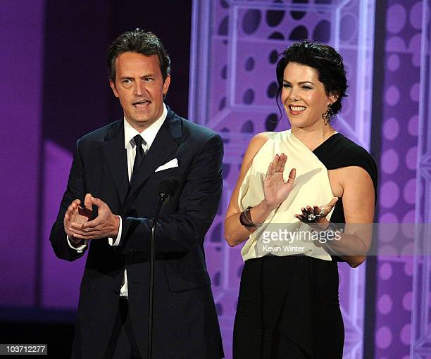 Actors Matthew Perry and Lauren Graham present the Guest Actress Actor In A Comedy Series awards onstage at the 62nd Annual Primetime Emmy Awards...