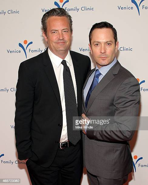 Actors Matthew Perry and Thomas Lennon attend the Venice Family Clinic's Silver Circle Gala at Regent Beverly Wilshire Hotel on March 9 2015 in...