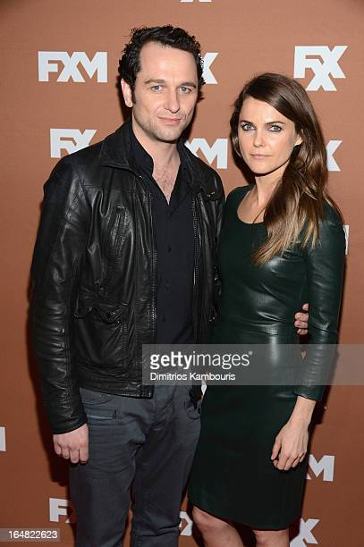 Actors Matthew Rhys and Keri Russell attend the 2013 FX Upfront Bowling Event at Luxe at Lucky Strike Lanes on March 28 2013 in New York City