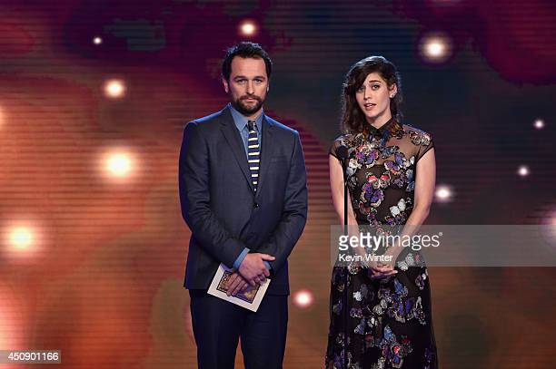 Actors Matthew Rhys and Lizzy Caplan speak onstage during the 4th Annual Critics' Choice Television Awards at The Beverly Hilton Hotel on June 19...