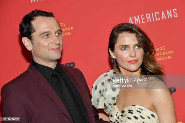 Actors Matthew Rhys Keri Russell attend The Americans Season 6 Premiere at Alice Tully Hall Lincoln Center on March 16 2018 in New York City