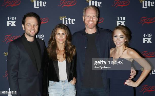 Actors Matthew Rhys Keri Russell Noah Emmerich and Holly Taylor attend the FX Network 2017 AllStar Upfront at SVA Theater on April 6 2017 in New York...