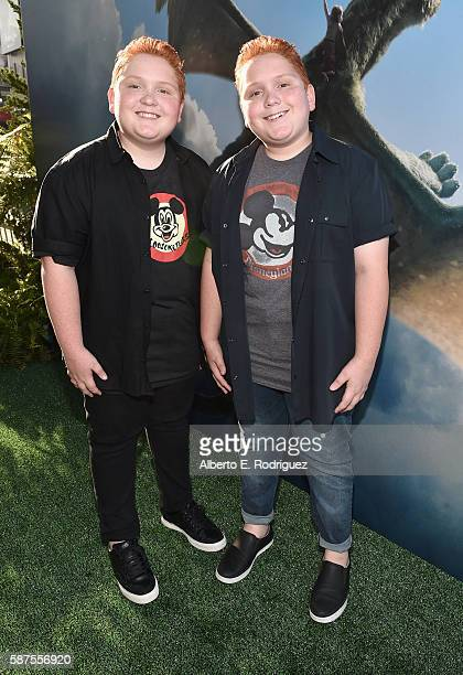Actors Matthew Royer and Benjamin Royer arrive at the world premiere of Disney's 'PETE'S DRAGON' at the El Capitan Theater in Hollywood on August 8...