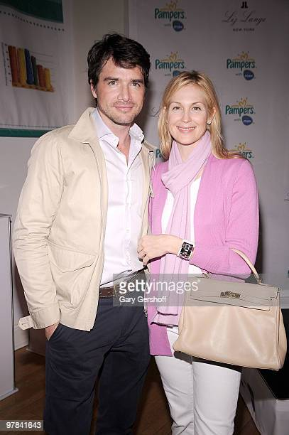 Actors Matthew Settle and Kelly Rutherford attend the Pampers Dry Max launch party at Helen Mills Theater on March 18 2010 in New York City