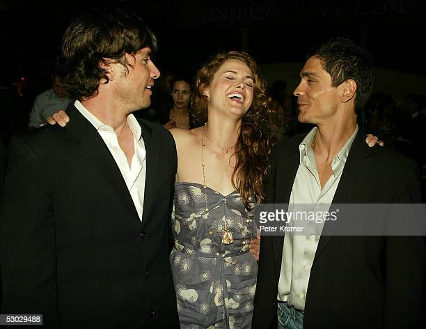 Actors Matthew Settle Keri Russell and Zahn McClarnon attend the after party for the premiere of 'Into the West' at the Museum of Natural History on...