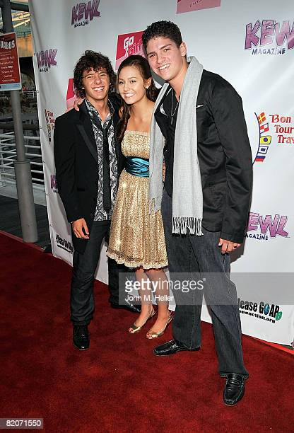 Actors Matthew Underwood and Christopher Recupito Rossi pose with Jillian Clare at her 16th Birthday Party aboard the Harbor Breeze Yacht 'The...