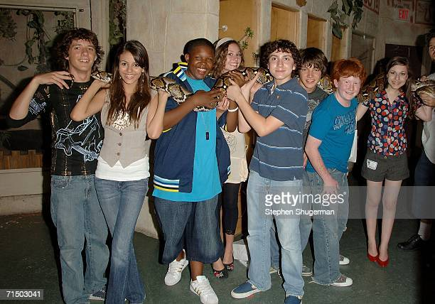 Actors Matthew Underwood Victoria Justice Denzel Whitaker Jillian Clare Daryl Sabara Chris Kelly Charlie Stewart and Erin Sanders hold a Anaconda...