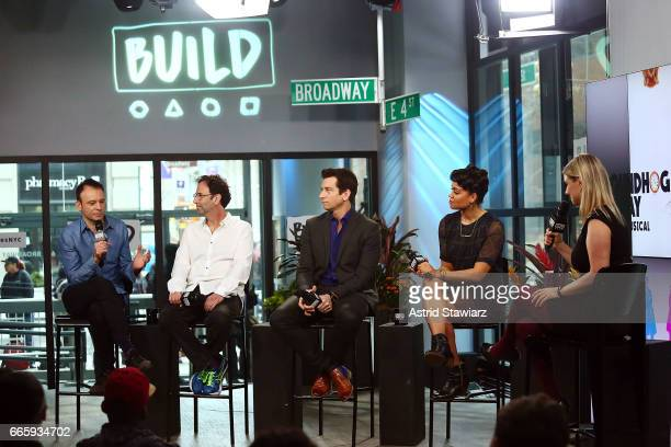 "Actors Matthew Warchus, Danny Rubin, Andy Karl and Barrett Doss discuss ""Groundhog Day"" at Build Studio on April 7, 2017 in New York City."