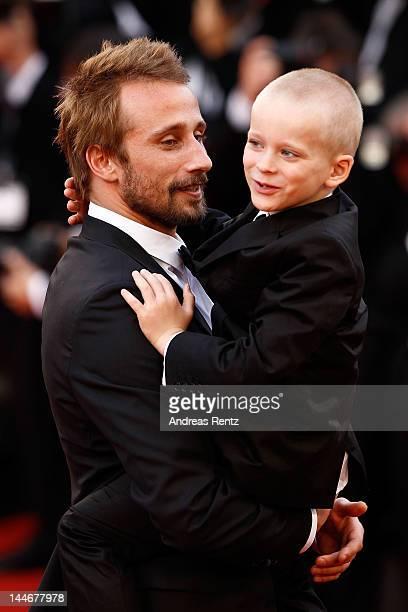 Actors Matthias Schoenaerts and Armand Verdure attend the De Rouille et D'os Premiere during the 65th Annual Cannes Film Festival at Palais des...