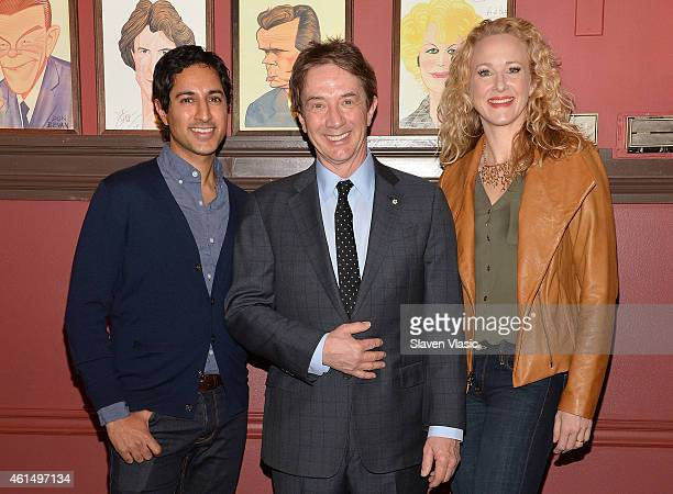 """Actors Maulik Pancholy, Martin Short and Katie Finneran attend Broadway's """"It's Only a Play"""" cast photo call at Sardi's on January 13, 2015 in New..."""